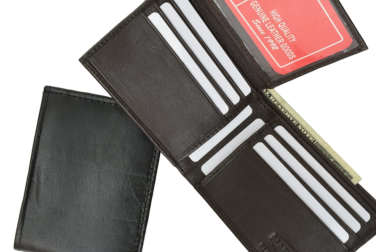 Genuine Lambskin Soft Leather ID and Credit Card Bifold Wallet by Marshal