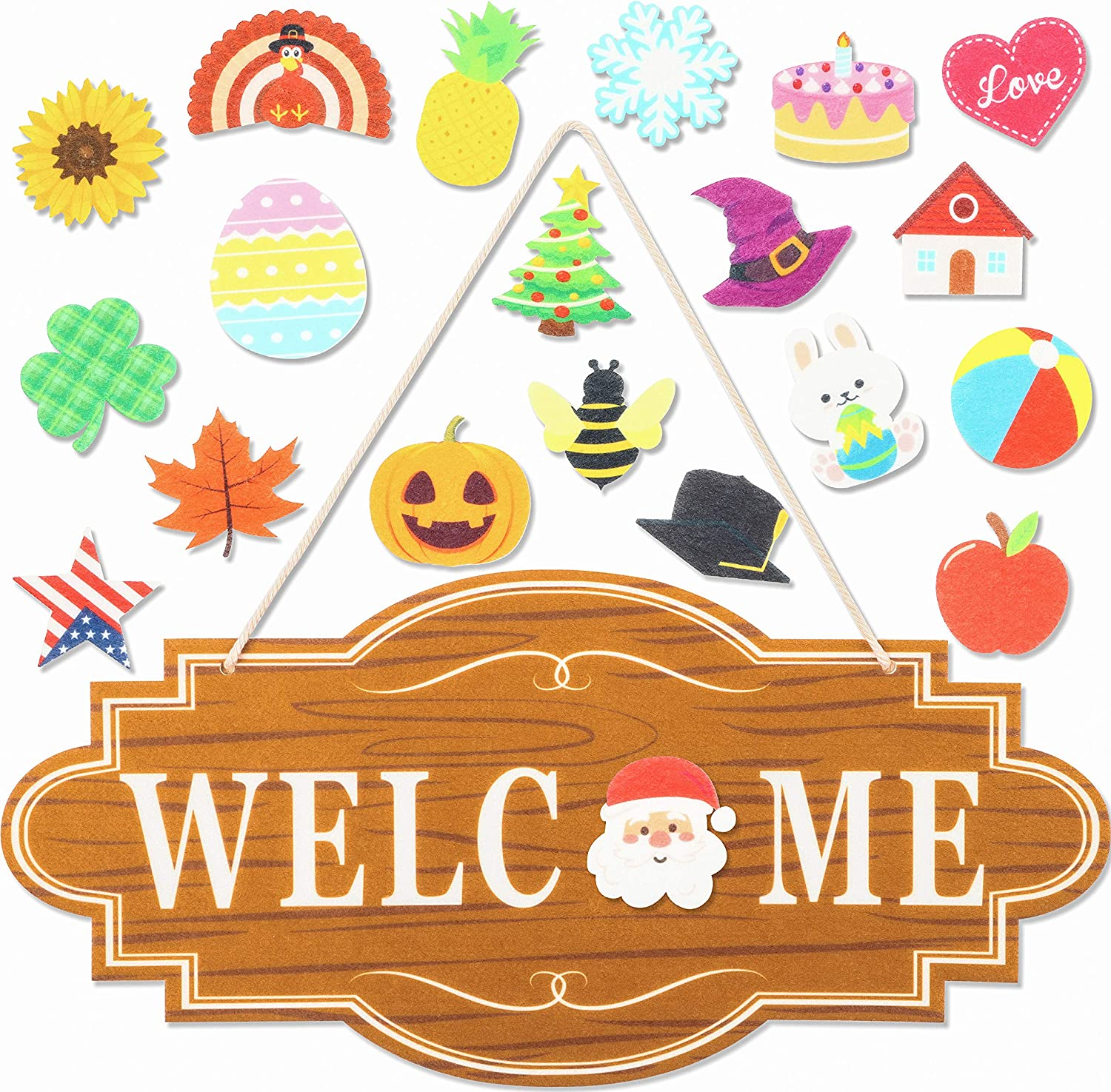 WATINC 21 Pcs Interchangeable Seasonal Welcome Signs with Velcro Felt Door Decor Front Porch Hanging Plaque Decoration for Fall Thanksgiving Winter Christmas Valentines St. Patrick's Day