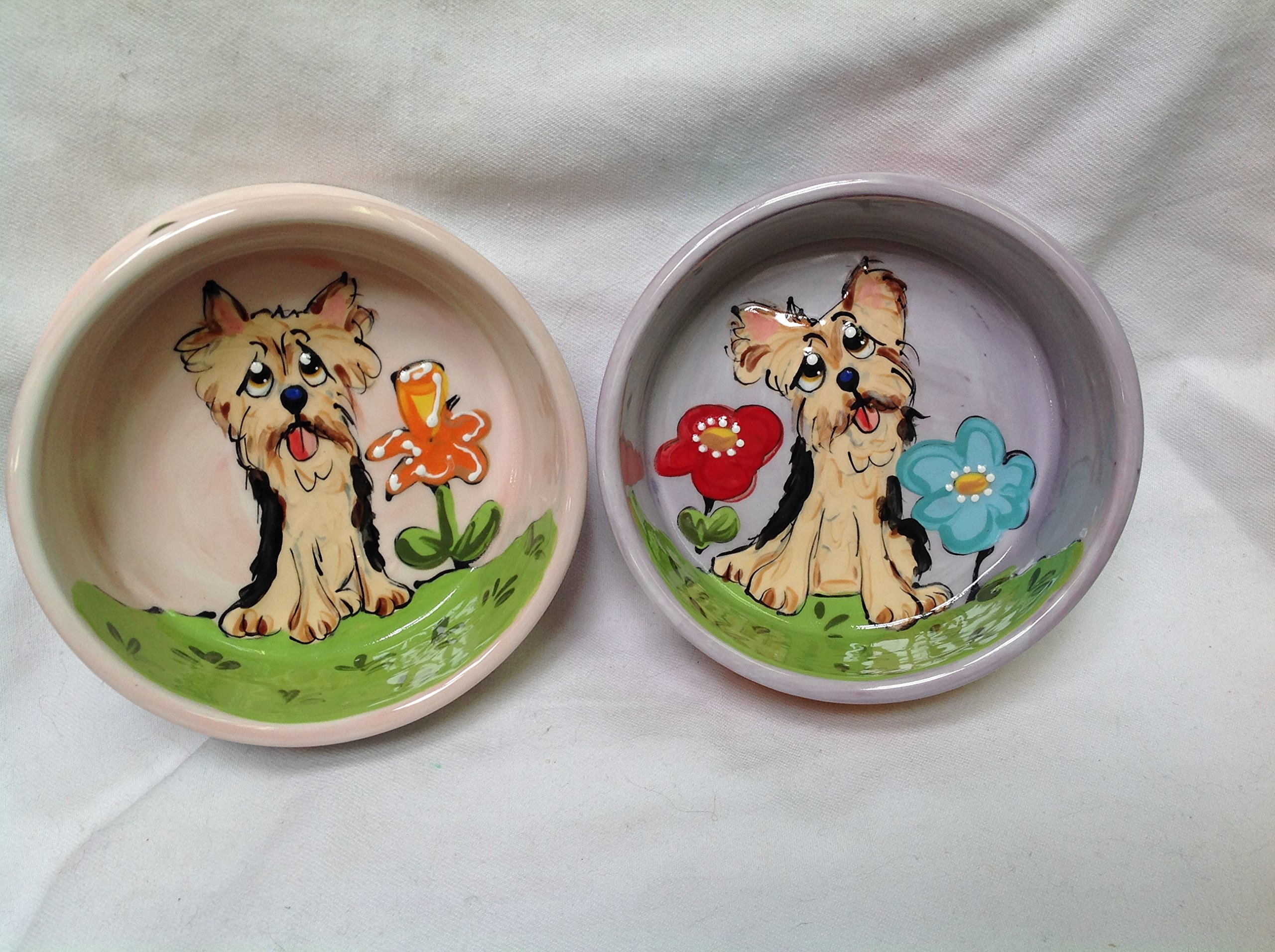 Yorkshire Terrier 8'' and 6'' Pet Bowls for Food and Water. Personalized at no Charge. Signed by Artist, Debby Carman.