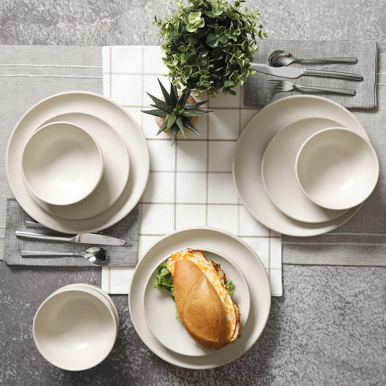Gibson Home Rockaway Round Stoneware Dinnerware Set Blue Service for 4 12pcs