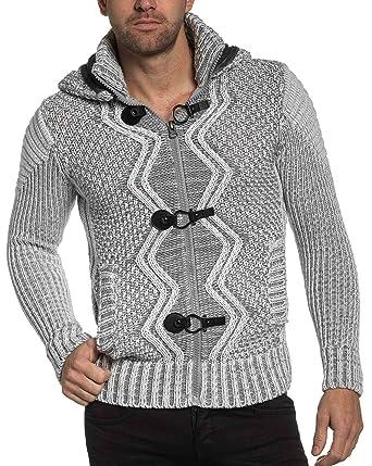 5bc8835c15949 BLZ jeans - Gilet homme maille écru et gris capuche fourrure - couleur:  Ecru -