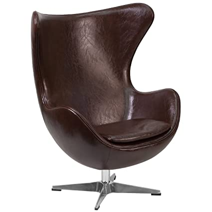 Flash Furniture Brown Leather Egg Chair With Tilt Lock Mechanism