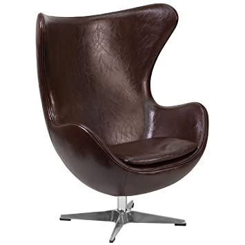 Beau Amazon.com: Flash Furniture Brown Leather Egg Chair With Tilt Lock  Mechanism: Kitchen U0026 Dining