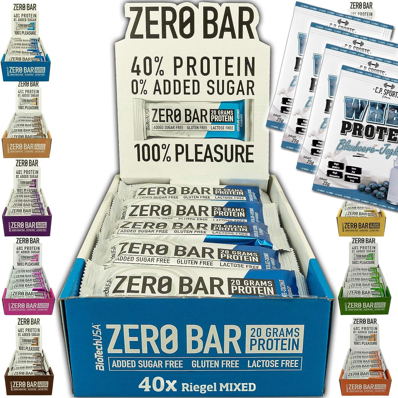 BioTech USA Zero Bar Mix Box 40 barritas de 50 g en al menos 6 sabores con 45% de proteína de suero sin azúcar añadido, incluye 4 bolsas de proteína ...
