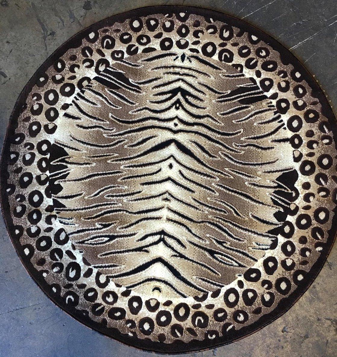 Americana Tiger & Leopard Zebra Animal Skin Round Area Rug Print Design 130 (4 feet X 4 feet Round)