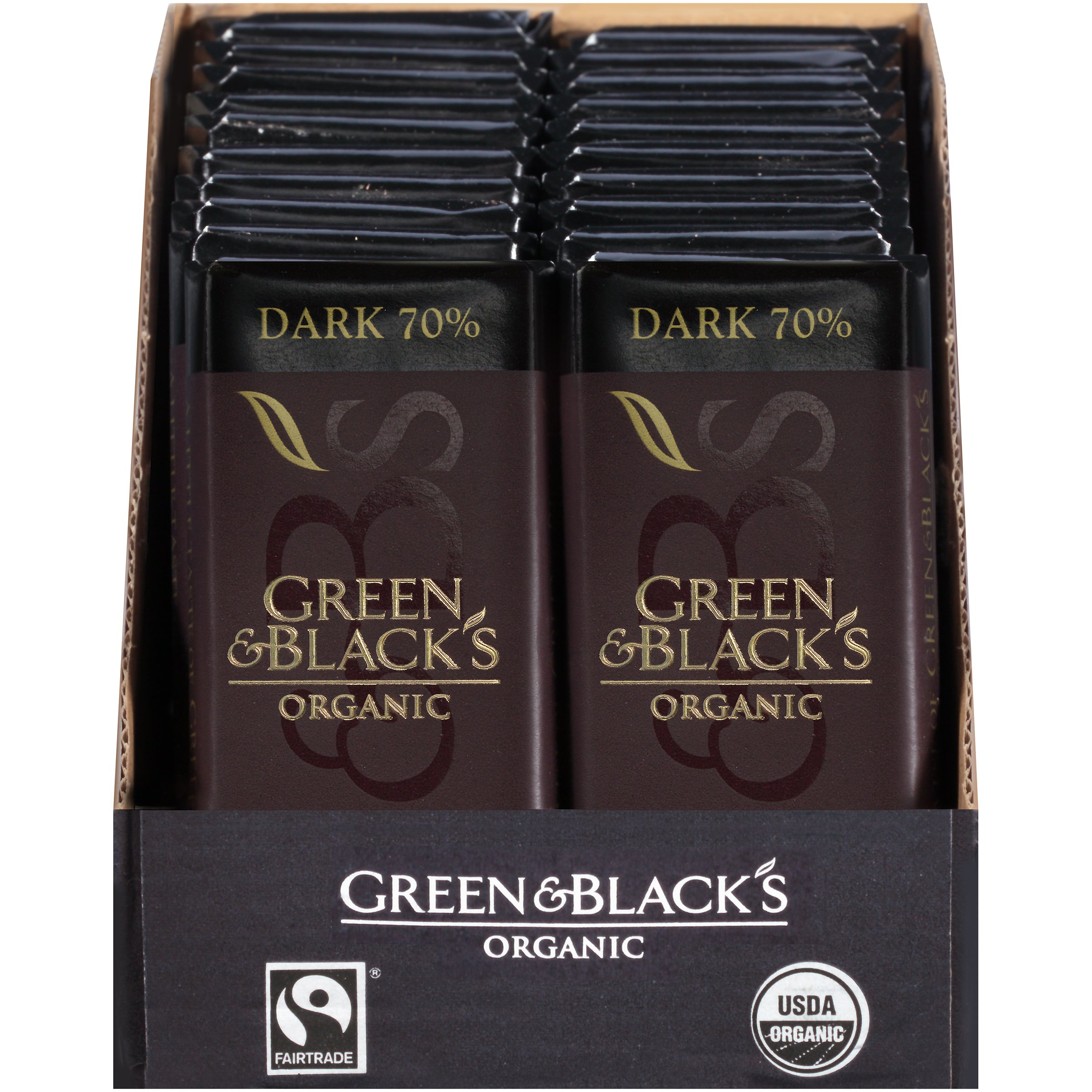 Green & Black's Organic Dark Chocolate (20 total bars) 70% Cacao Bars by Green & Black's