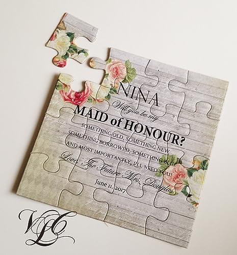 amazon com bridesmaid proposal with roses rustic puzzle invitation