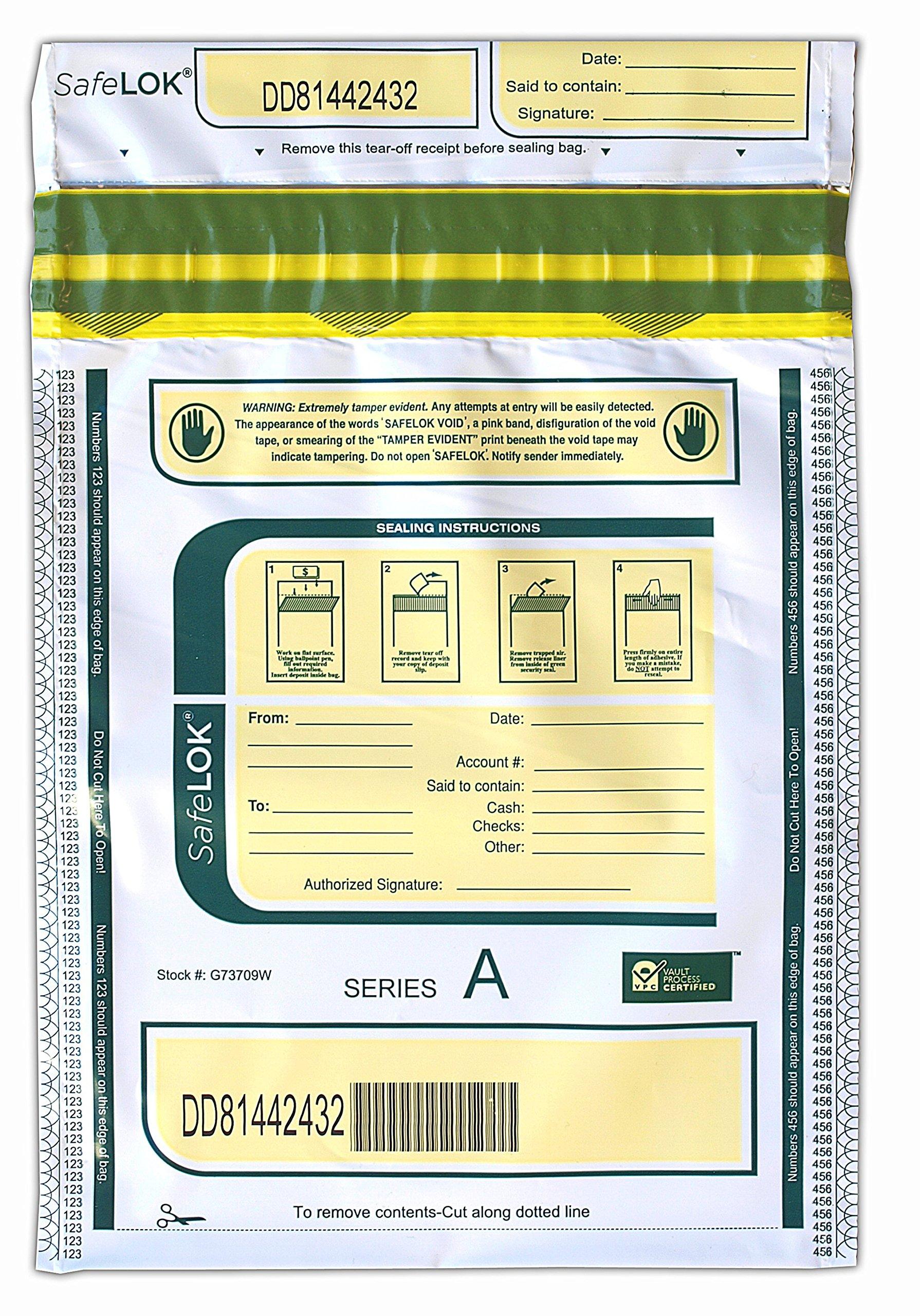 9 X 12 SafeLok, white, 100 Deposit Bags
