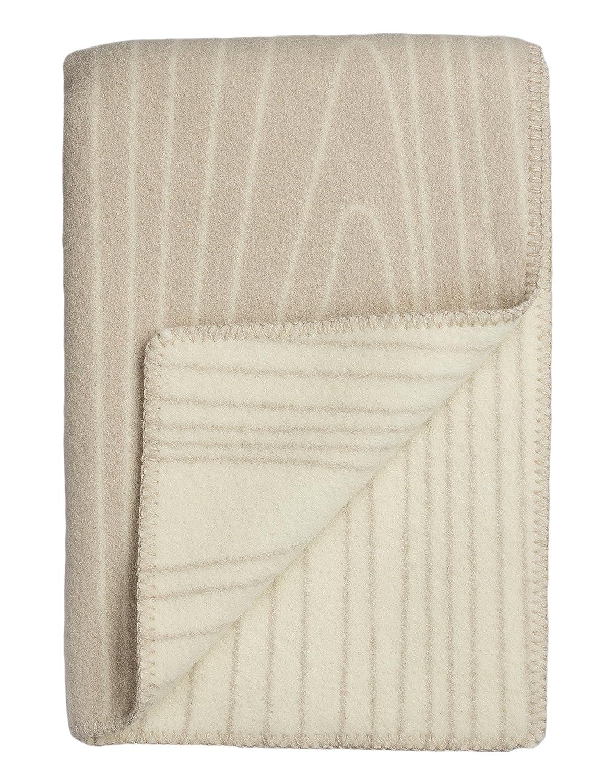 Roros Tweed Decken – finewool Überwurf  Beige Natur (200 cm x 130 cm)
