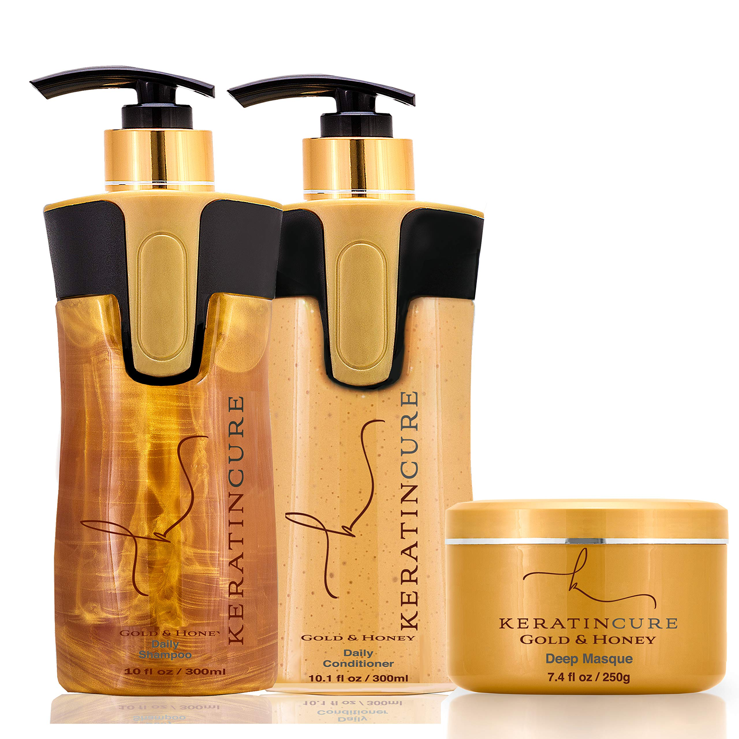 Keratin Cure Brazilian Gold & Honey Sulfate Free Shampoo Conditioner Masque Best for Damaged Dry, Curly or Frizzy Hair - Thickening for Fine/Thin Hair, Safe for Color-Treated, Keratin Treated 10oz/8oz by Keratin Cure