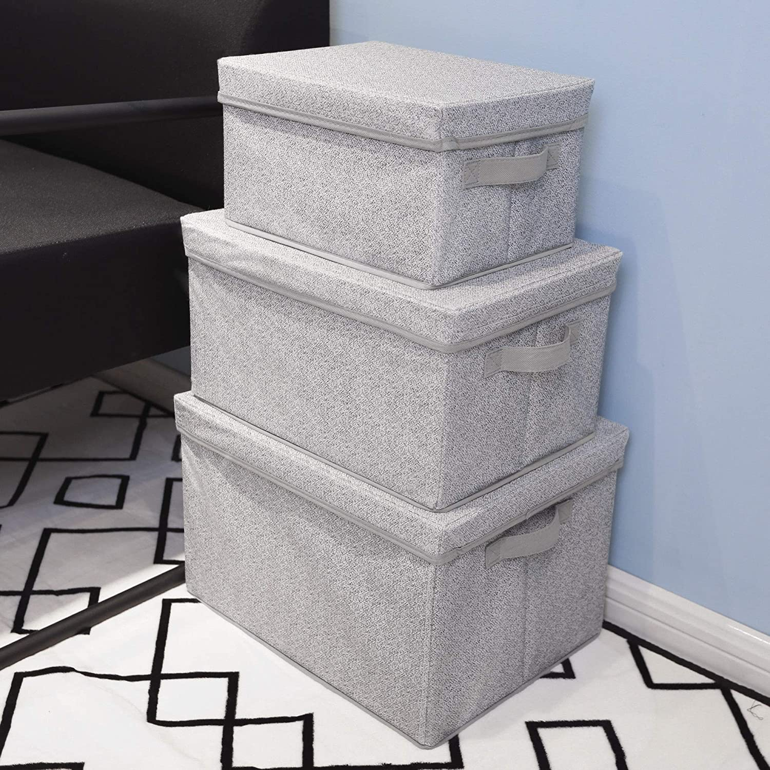 Rectangle Storage Box Fabric Storage Baskets Containers Large 3-Pack GRANNY SAYS Storage Bins for Closet with Lids and Handles Gray