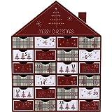 Valery Madelyn Winter Weihnachten 35cm Traditioneller Adventskalender zum Befüllen in Rot und Grau, mit Typischen Weihnachtlichen Mustern und 24 Kästchen aus Papier