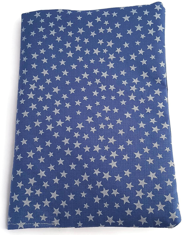 dea-concept - Protège carnet de santé - coton bleu - étoiles nacrées - fait main - cadeau naissance