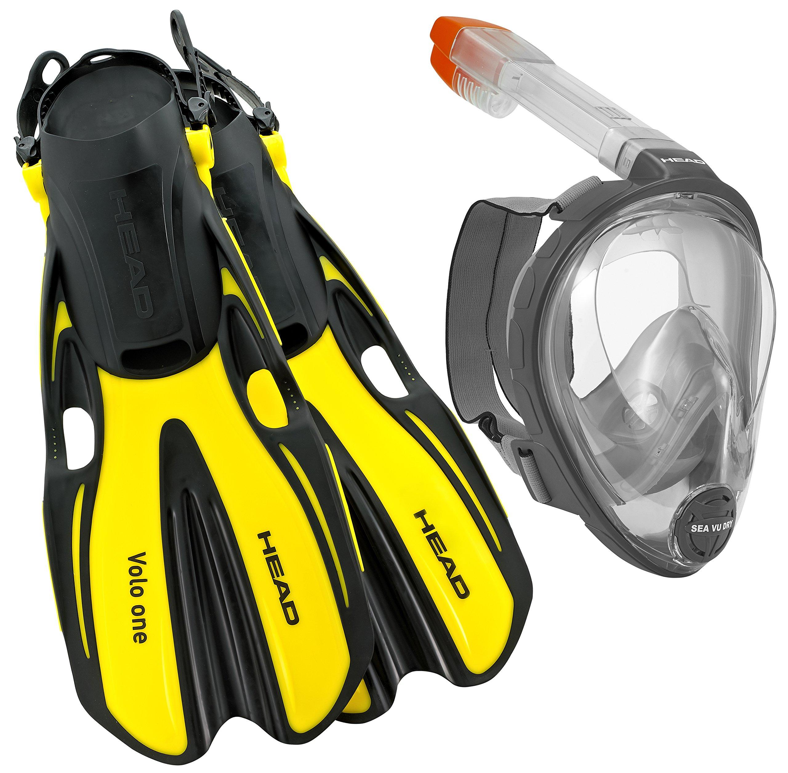 HEAD Sea View Dry Full Face Mask Fin Snorkel Set, Yellow, Small/Medium