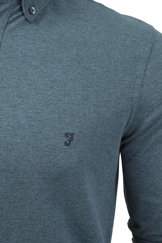 81c372d2e0208 Farah Mens Polo Shirt Classic  Buchanan  Button Down Long Sleeved (Dusky  Blue Melange) M  Amazon.co.uk  Clothing