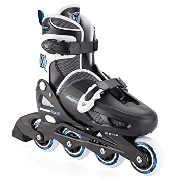 75f92a24a22 Xootz Boy's Inline Skates Adjustable and Padded Roller Blades, Black, ...