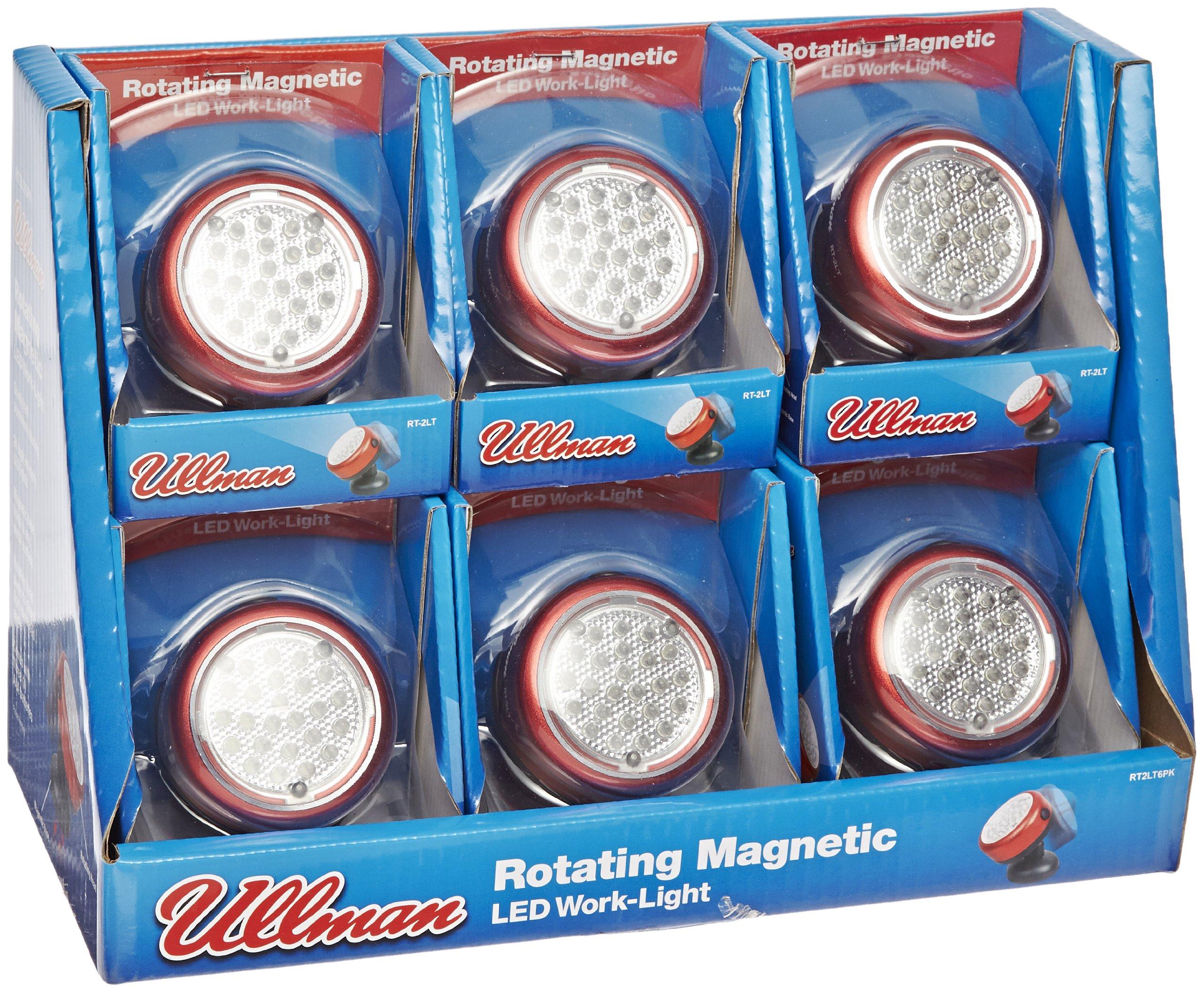 Ullman RT2LT6PK Aluminum Magnetic 24 LED Work Light - (Pack of 6) Rotating, Battery Operated 60 Lumens LED Work Light. Job Site Lighting by Ullman