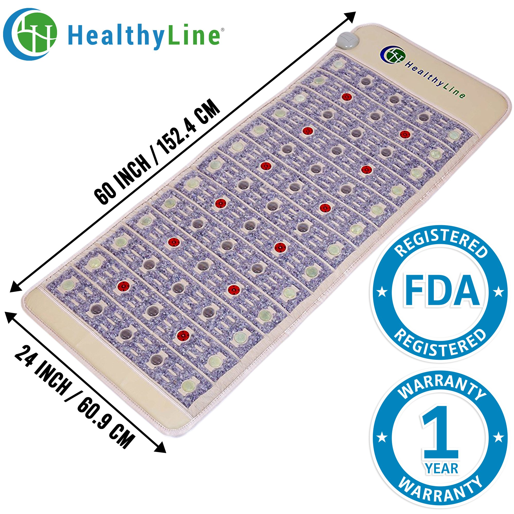 HealthyLine Natural Infrared Heating Mat - Pain Relief - Firm (60″ x 24″) - PEMF - Photon Red Light - Negative Ions - Amethyst, Jade & Tourmaline Ceramic Stones - US FDA