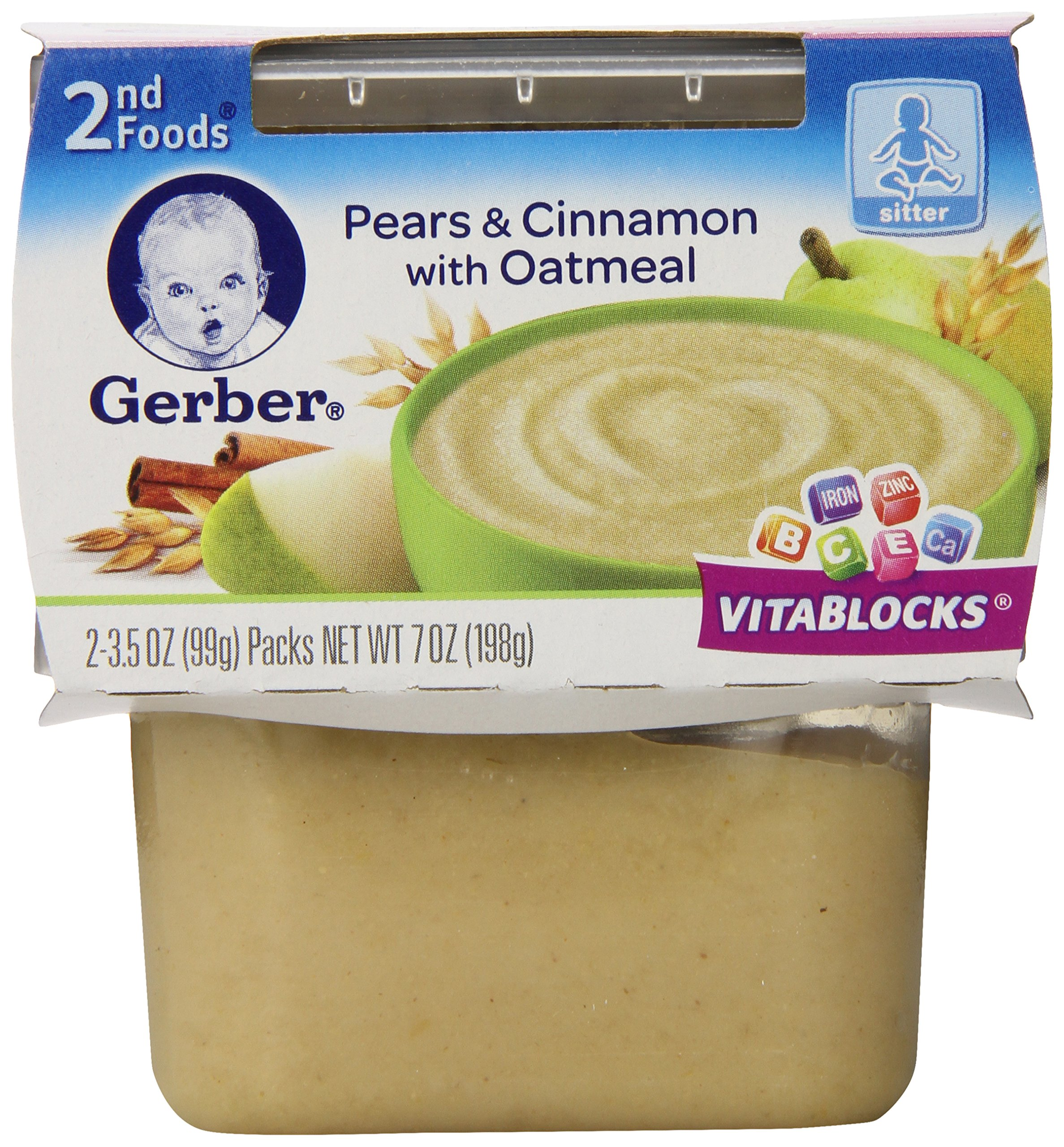 Gerber 2nd Foods Pears with Cinnamon Oatmeal, 2 Count (Pack of 8)