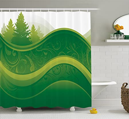 Hunter Green Shower Curtain By Lunarable Abstract Nature With Tree And Grass Silhouette On Park