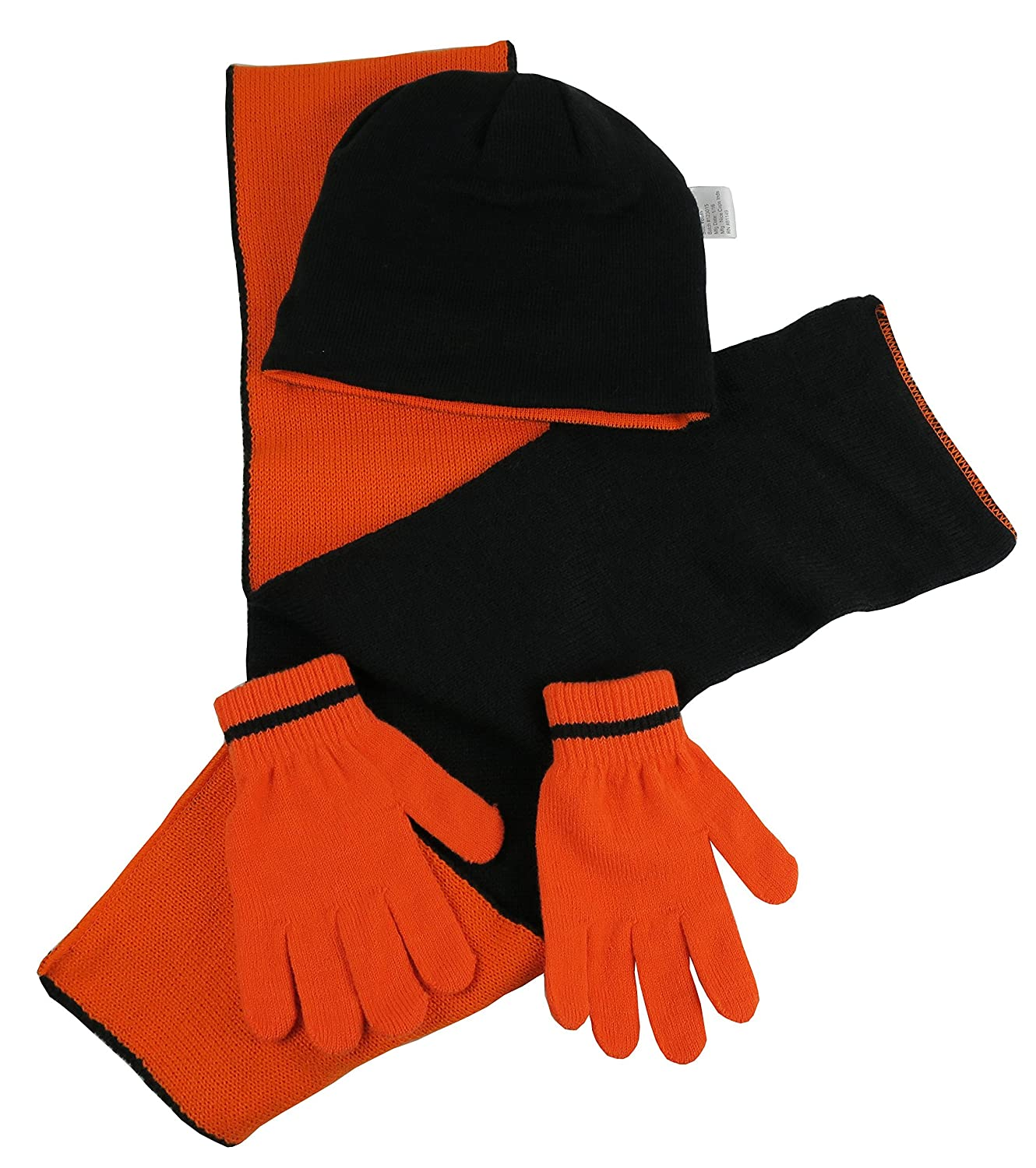 NIce Caps Kids Reversible Knitted Hat//Scarf//Magic Stretch Glove Accessory Set