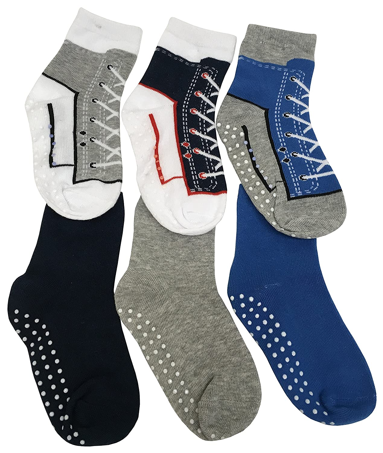 N'Ice Caps Boys and Baby Cotton/Spandex Casual Crew Gripper Socks - 6 Pair Pack