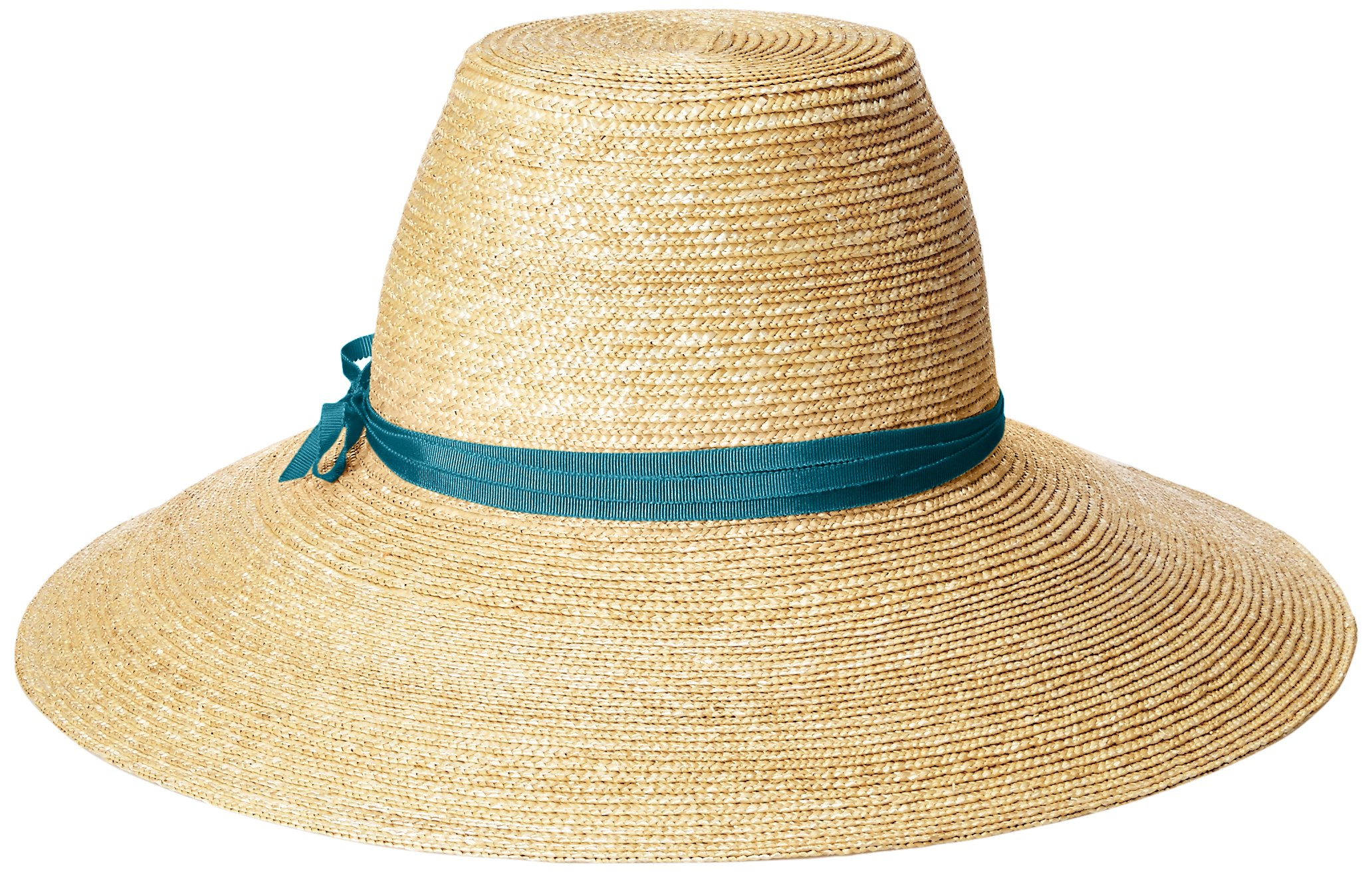Gottex Women's Cote D'Azur Fine Milan Straw Sun Hat Rated, UPF 50+ for Max Sun Protection, Natural/Teal, Adjustable Head Size
