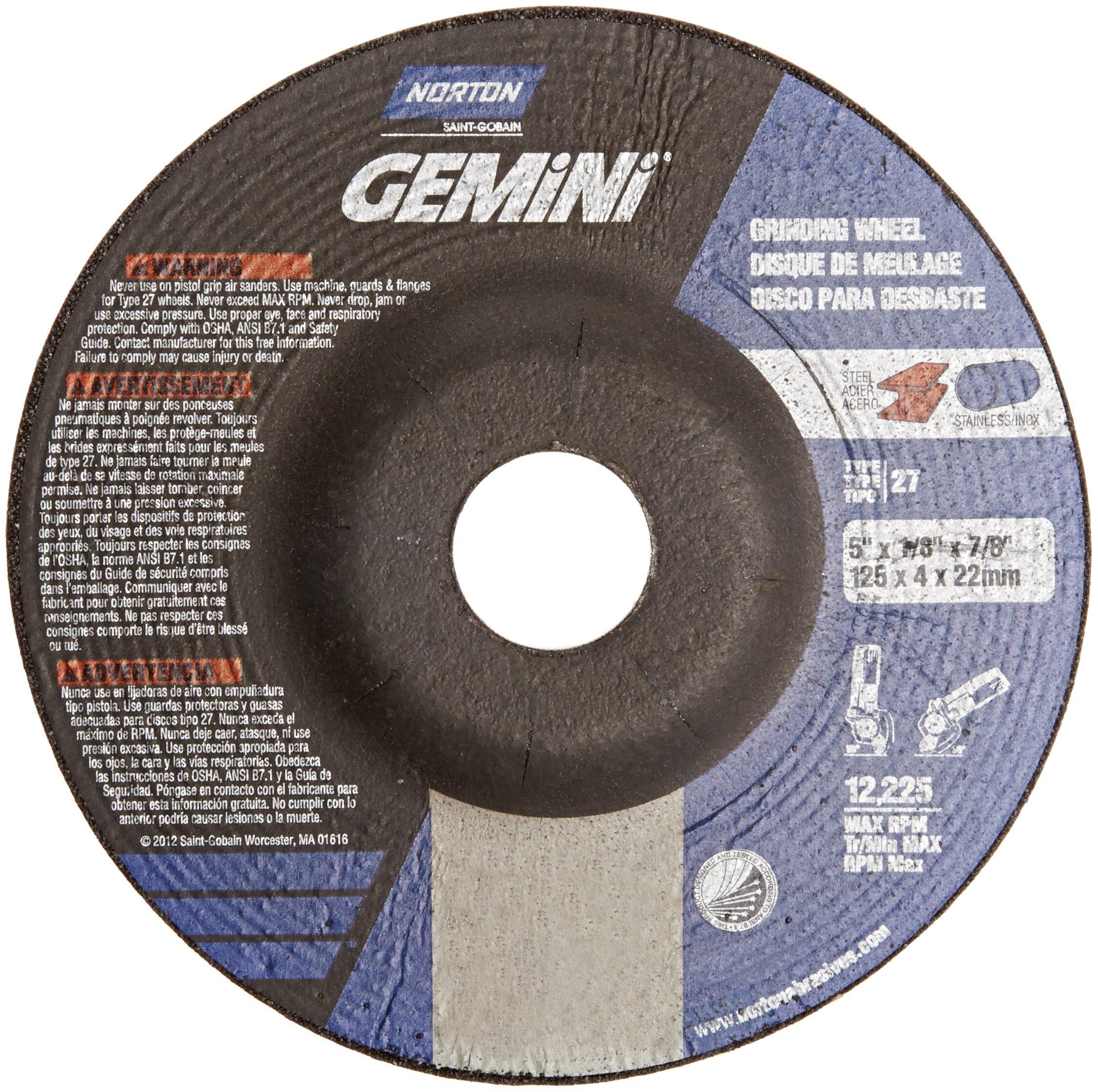 Norton Gemini Depressed Center Abrasive Wheel, Type 27, Aluminum Oxide, 7/8'' Arbor, 5'' Diameter X 1/8'' Thickness (Pack of 25)