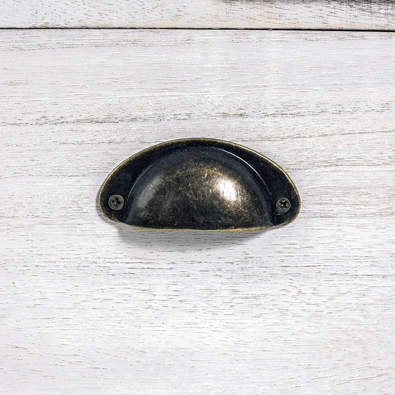 Mobili Rebecca Comodino Cassettiera 5 Cassetti Legno Paulownia Bianco Vintage Shabby Chic Camera da Letto Bagno cod. x-1578