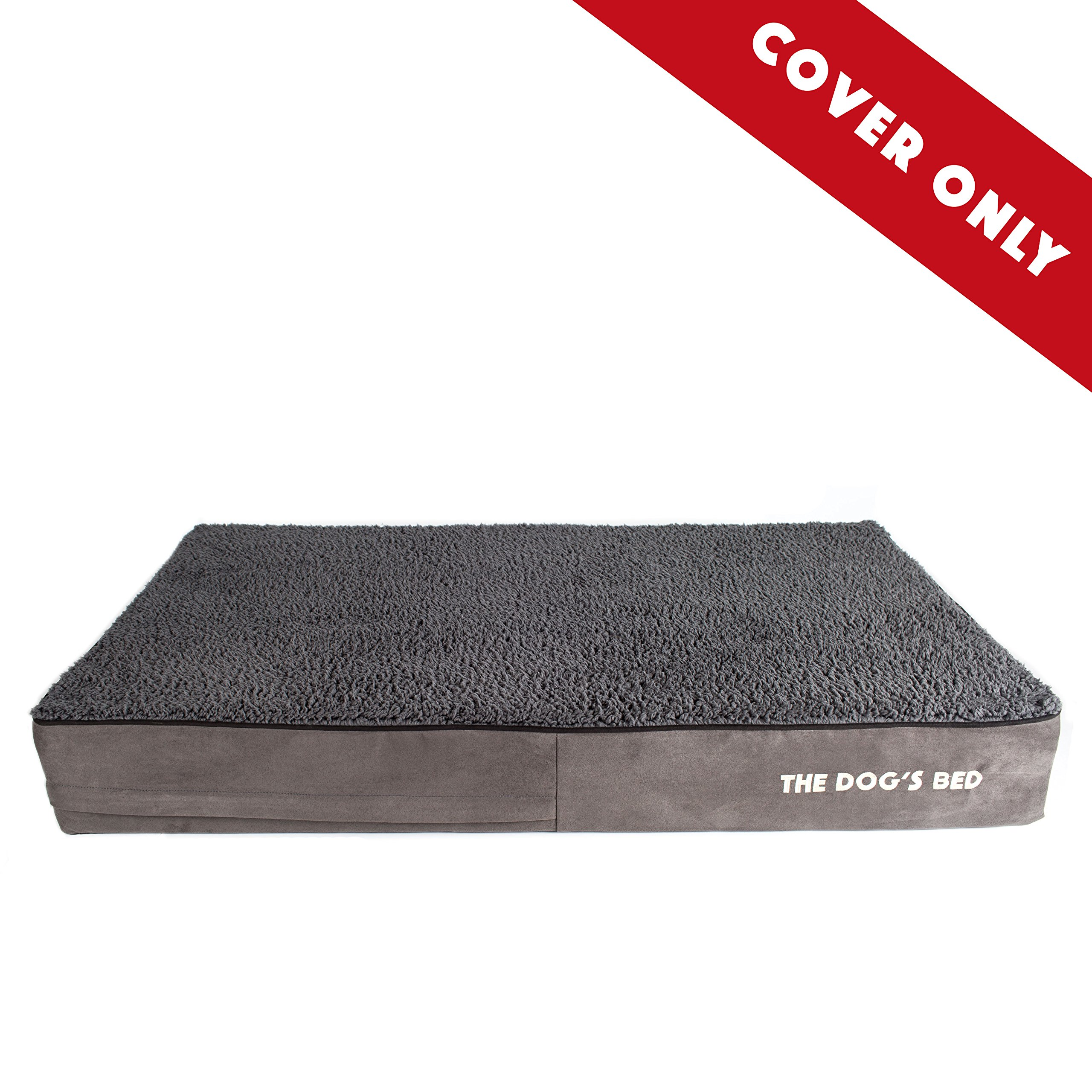Replacement Outer Cover ONLY (Outer Cover ONLY - NO Bed, NO Waterproof Inner) for The Dog's Bed, Washable Quality Plush Fabric, Extra Large 46'' x 28'' x 6'' (Grey Plush)