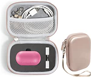 WGear Carrying Case for Samsung Gear IconX (2018 Edition) Bluetooth Cord-free Fitness Earbuds, all in one carrying and storage solution, Customized inlay for charger box and USB Core, strong EVA semi hard case with mesh pocket for cable and other accessories, Rose Gold