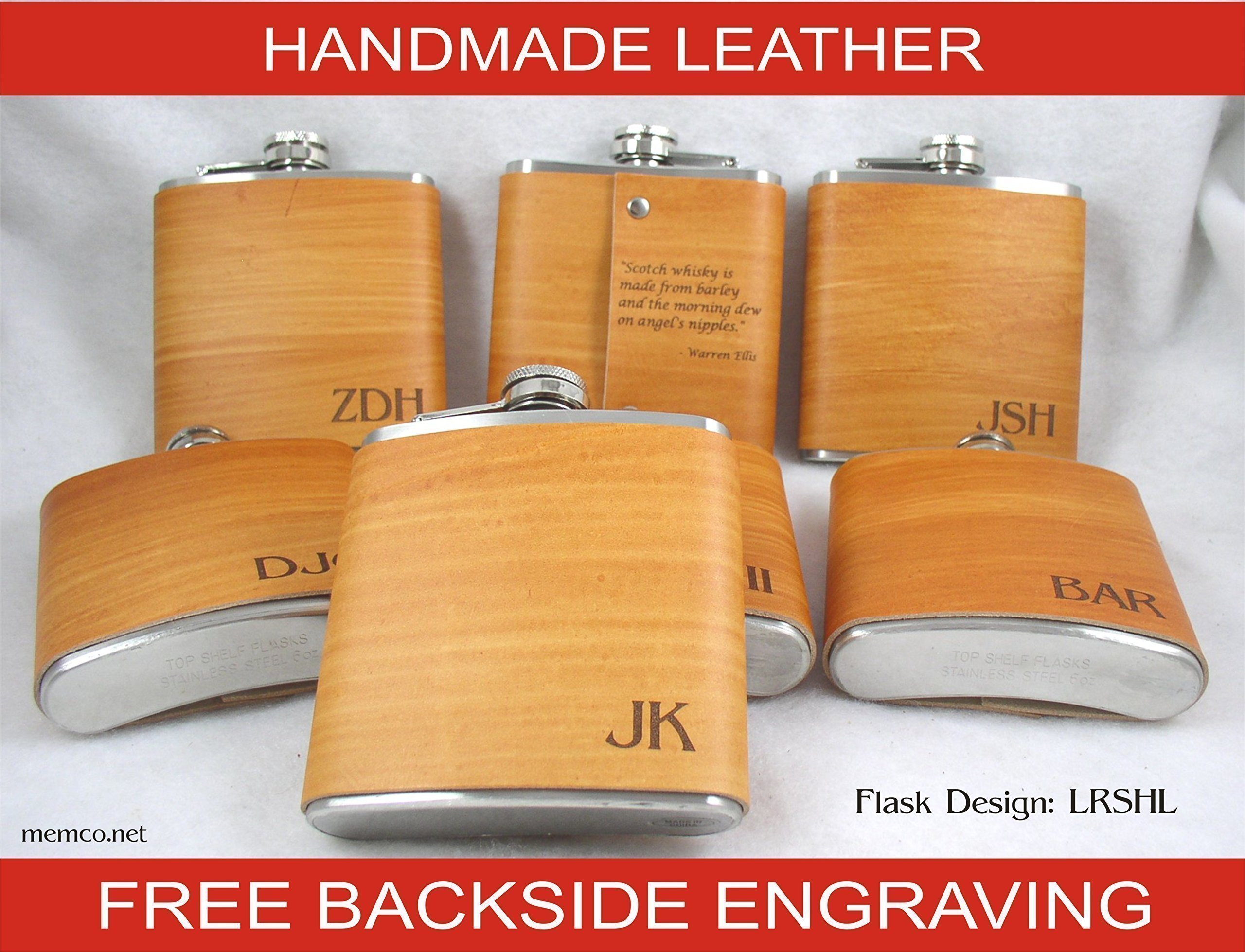 SET OF 5 Personalized Handmade Engraved Real Leather Flasks - Groomsmen Gifts