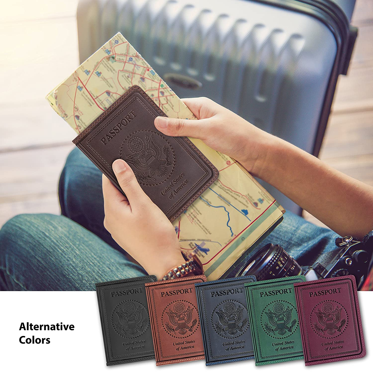 26ae242572aa Tossy Wear - Leather Passport Holder for Men and Women Cover ID Card  Protector - US Travel Wallet Case Brown Color