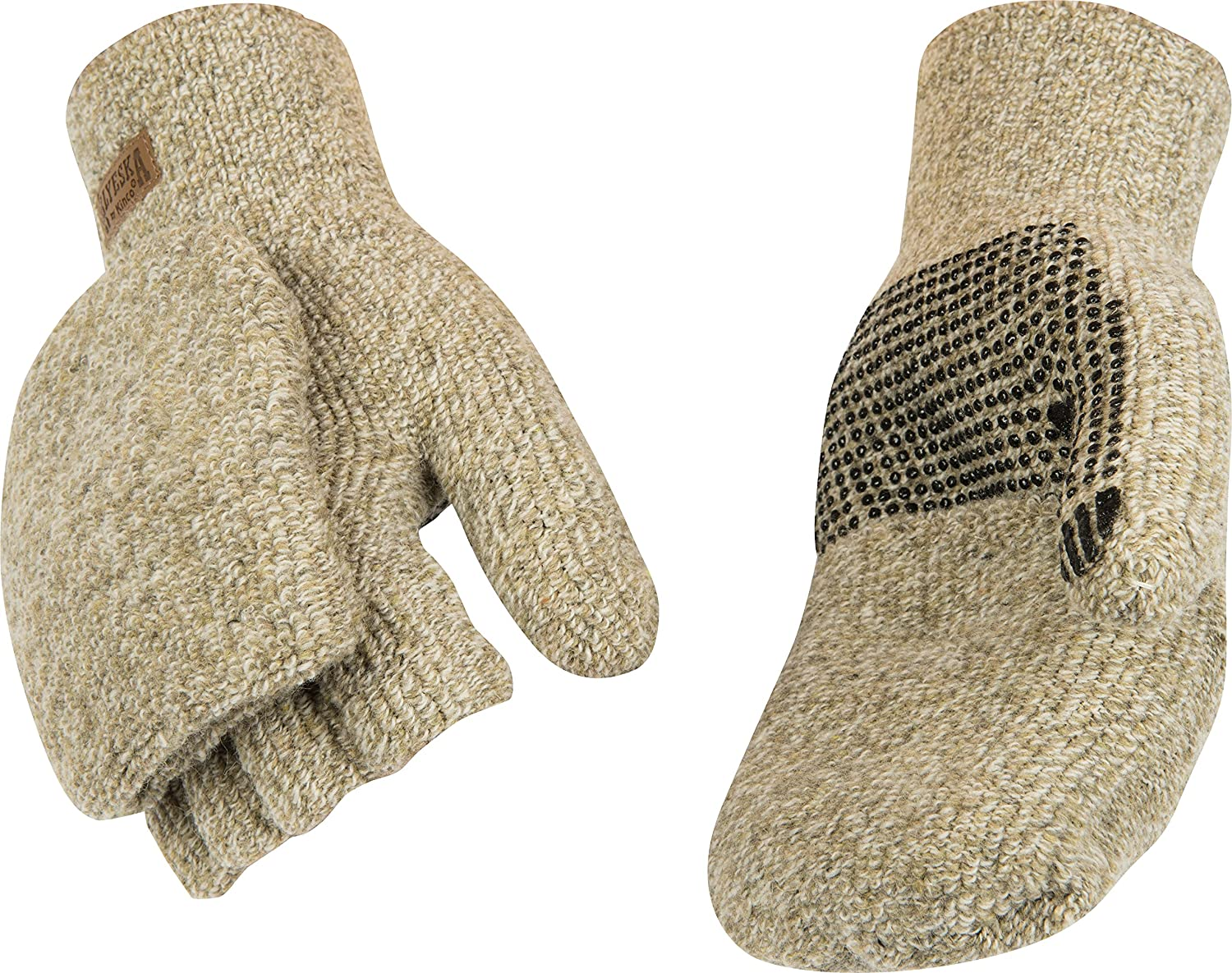 Kinco 5210-L Blended Yarn of 45% Wool & 55% Acrylic PVC Dots on Palm, Concealed Magnet Keeps Pocket Flap In Place, Acrylic Thermal Lining, Size: L