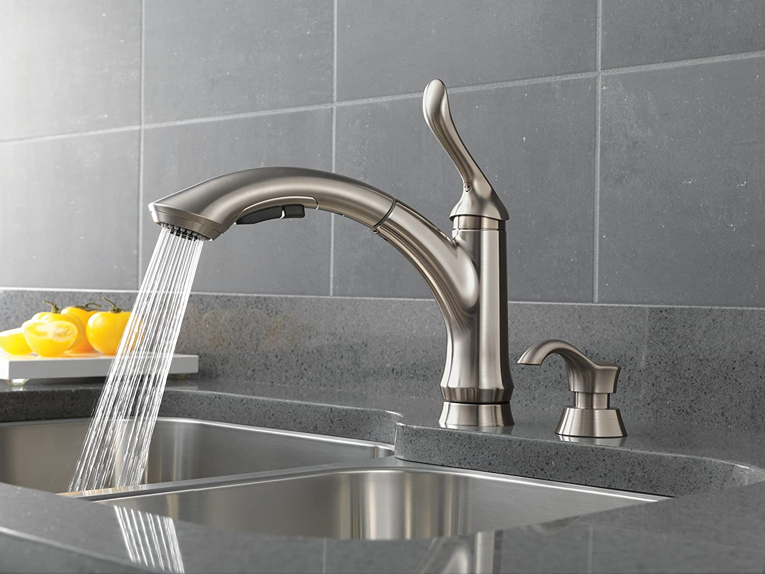 Delta 4353 SSSD DST Linden Single Handle Pull Out Kitchen Faucet With Soap  Dispenser, Stainless   Touch On Kitchen Sink Faucets   Amazon.com