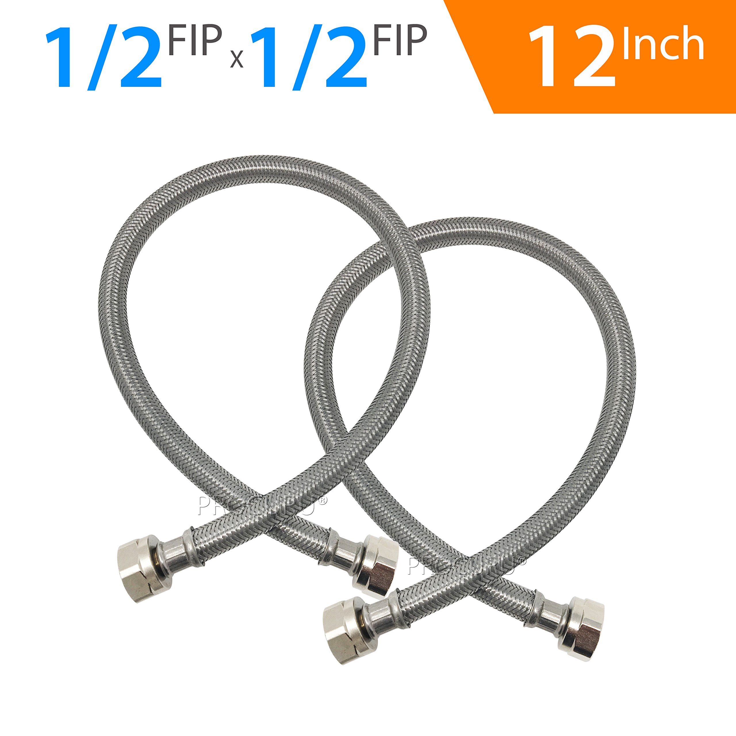 2Pcs Toilet 1//2-Inch FIP by FIP Braided Stainless Steel Water Supply Hose Line