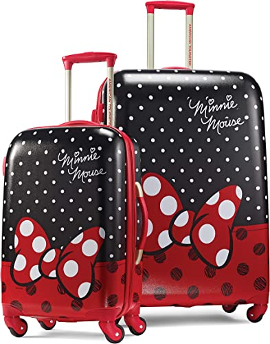 American Tourister Disney Hardside Luggage with Spinner Wheels, Minnie Mouse Red Bow, 2-Piece Set 21 28