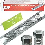 """Premium Pellet Smoker Tube 12"""" - for any Grill or Smoker, Hot or Cold Smoking - Easy, safety and tasty smoking - Hexagon shape - Stainless steel - Free eBook Grilling Ideas and Recipes - LizzQ"""