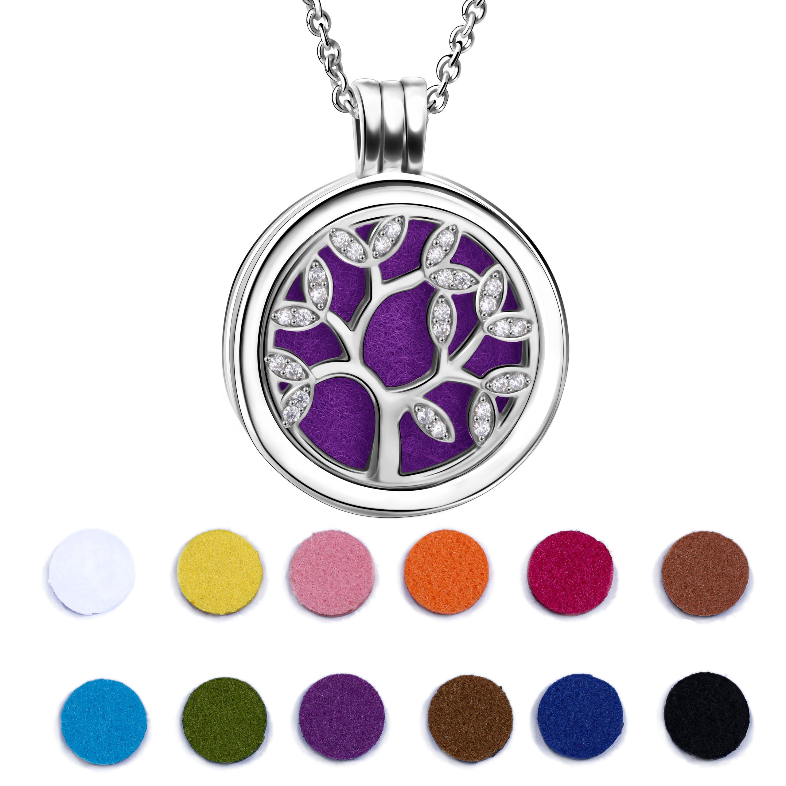 Angemiel 925 Sterling Silver Cubic Zirconia Life Tree Essential Oil Diffuser Locket Necklace