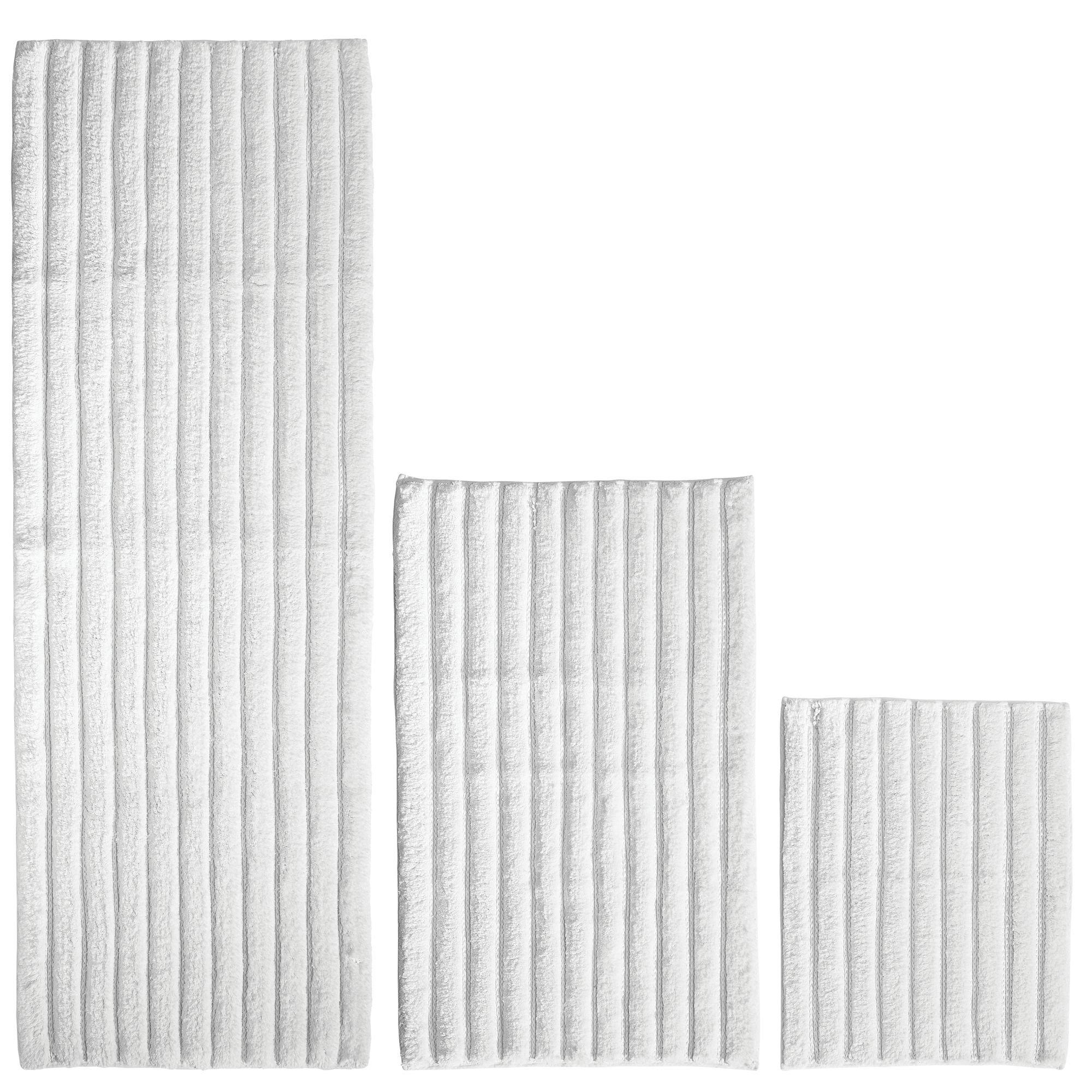 mDesign 100% Cotton Luxury Rectangular Spa Mat Rugs, Plush Water Absorbent - for Bathroom Vanity, Bathtub/Shower, Machine Washable - Ribbed Design - Runner, Standard & Small Rug - Set of 3 - White