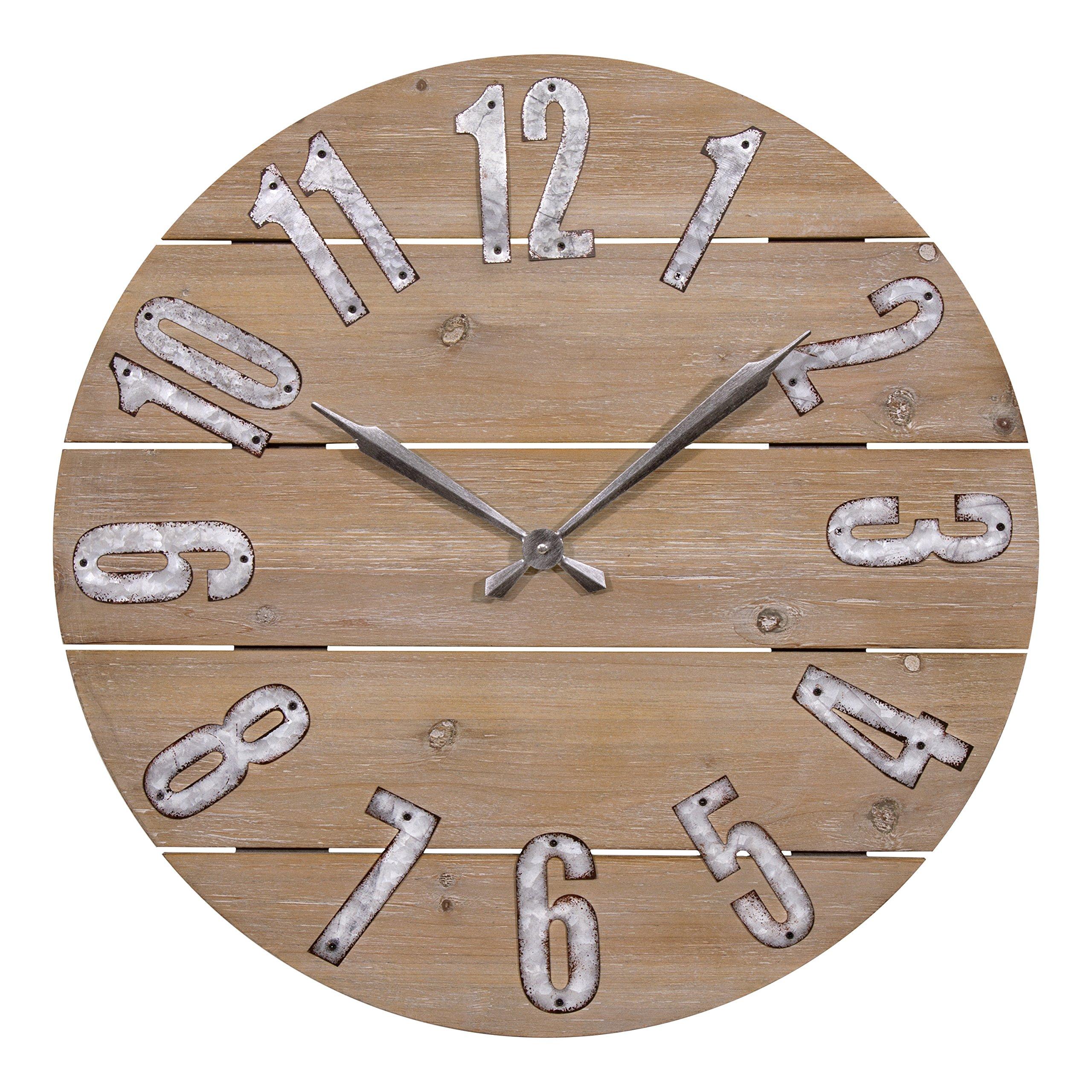 Lacrosse 404-3960W 23.5 Inch Rustic Wood Quartz Wall Clock
