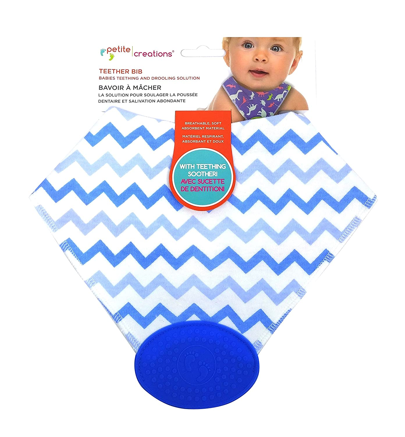 Petite Creations Teether Bibs, Chevron Blue CB 208