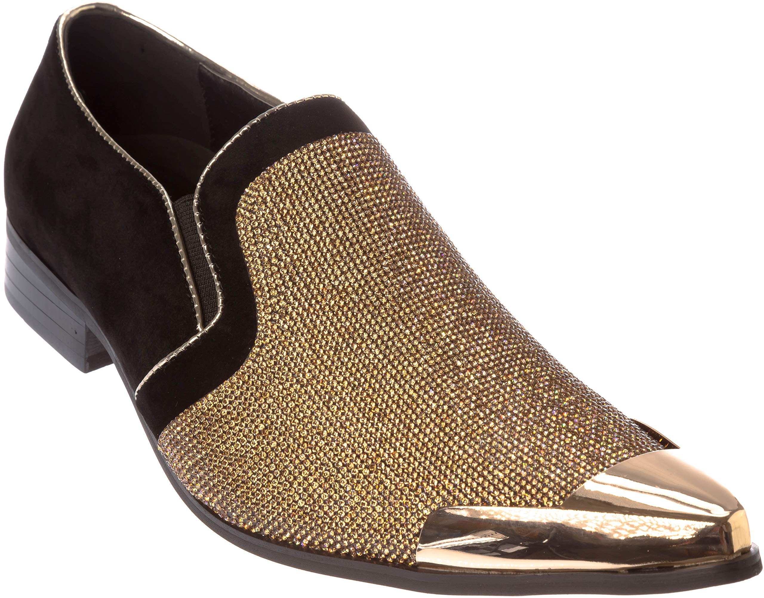 Cristiano Mens Slip-On Fashion-Loafer Sparkling-Glitter Metal-Tip Gold Dress-Shoes Size 12