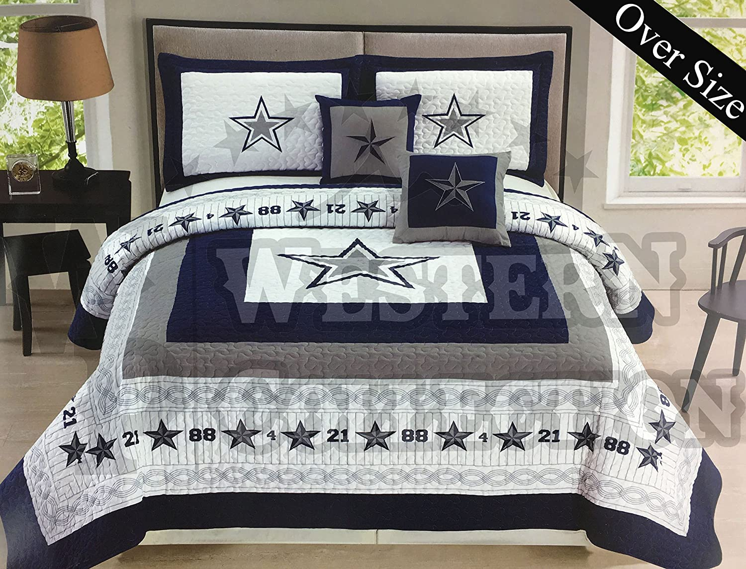 Western Collection 5 Pc Western Navy Blue White Texas Lone Star Cabin Lodge Cowboy Luxury Quilt Bedspread Oversize Comforter (Twin, Navy Quilt Set)