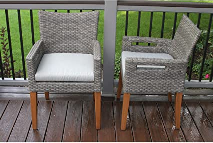 Superb Amazon Com Outdoor Interiors Grey Wicker Eucalyptus Arm Pdpeps Interior Chair Design Pdpepsorg