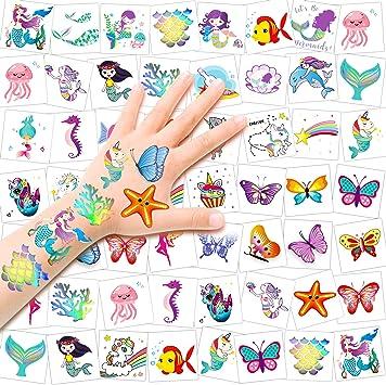 Luminosi Tatuaggi Finti Adesivi Giocattoli Gadget per Ragazza Tatoo Bambini Festa Compleanno Sacchetti Regalo Impermeabile Tatuaggio Temporaneo 14 Fogli HOWAF Unicorno Tatuaggi Temporanei