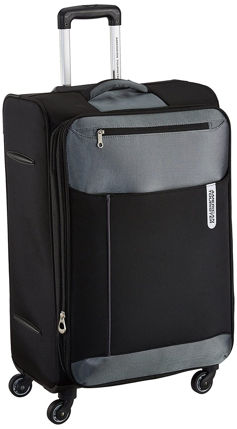 e3fb6802c American Tourister Portugal Polyester 69.5 cms Black Soft Sided Suitcase  (AMT Portugal SP 69CM Black)
