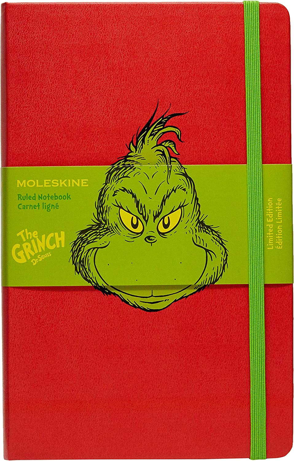 "Moleskine Limited Edition Dr. Seuss Notebook, Hard Cover, Large (5"" x 8.25"") Ruled/Lined, Red, 240 Pages"