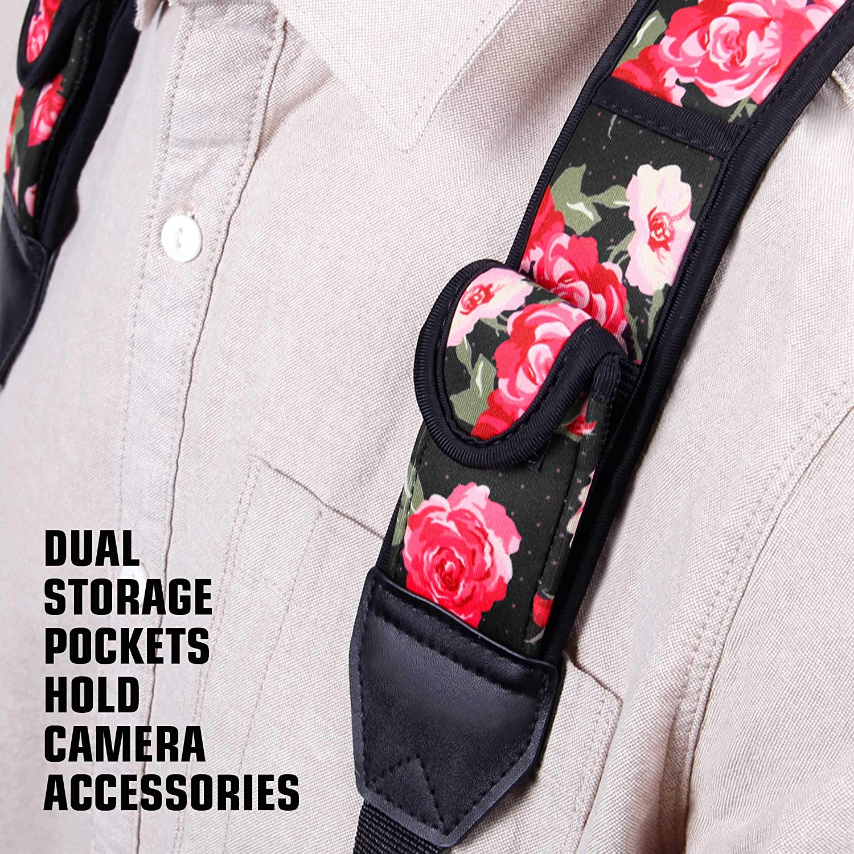 Kompatibel mit Canon Neopren-Blumenmuster und Zubeh/örtaschen Nikon USA GEAR DSLR-Kameragurt Brustgurt mit Schnellverschl/üssen Sony und Anderen spiegellosen Kameras