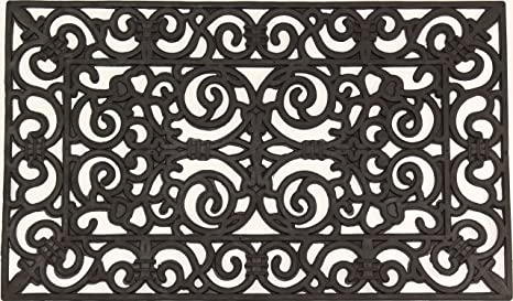 Envelor Home And Garden Fleur De Lis Wrought Iron Rubber Pins Door Mat,  18u0026quot;